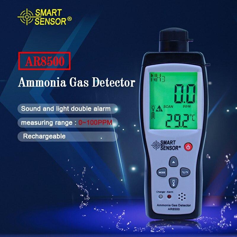 Capteur intelligent à main ammoniac gaz NH3 détecteur mètre testeur moniteur gamme 0-100PPM son lumière alarme analyseurs de gaz AR8500