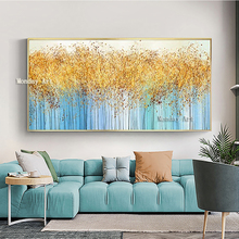 Abstract gold Flower Picture Home Decor Wall Art Hand Painted Knife Flowers Oil Painting on Canvas 100% Handmade Floral