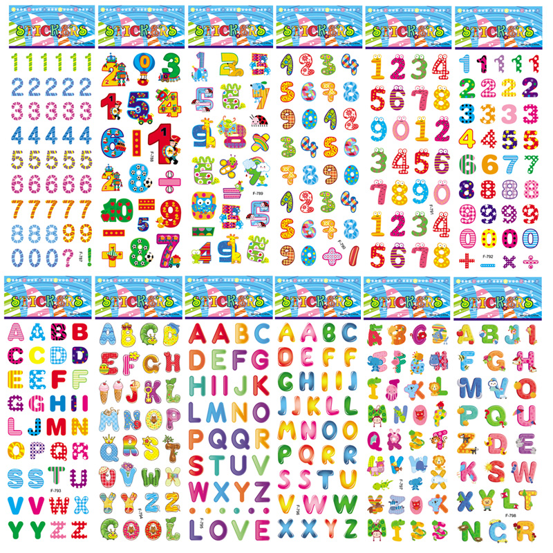 1pcs Children Education 3D Bubble Puffy Stickers 26 English Letter A B C Number Learning Sticker For Boys & Girls Award Gift Toy