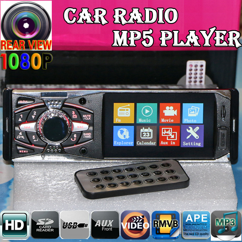 12V Car Radio MP5 Player 4.0 HD TFT Supports Rear view camera/1080P/Stereo FM/Charger/MP3/MP4/Audio/Video/Auto Electronics 1 DIN image