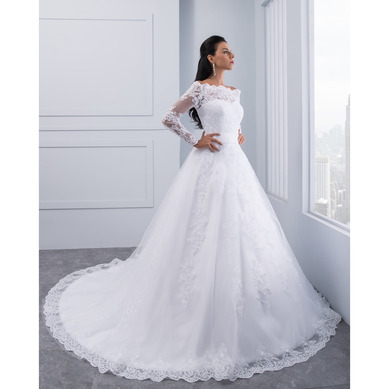 Miaoduo Vestidos De Novia 2018 Long Sleeve Lace Wedding Dress Ball ...
