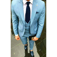 Custom Made New Style Light Blue Men Suit Slim Fit Skinny 3 Piece Suits Tuxedos Groom Prom Party Blazer(Jacket+Pants+Vest)