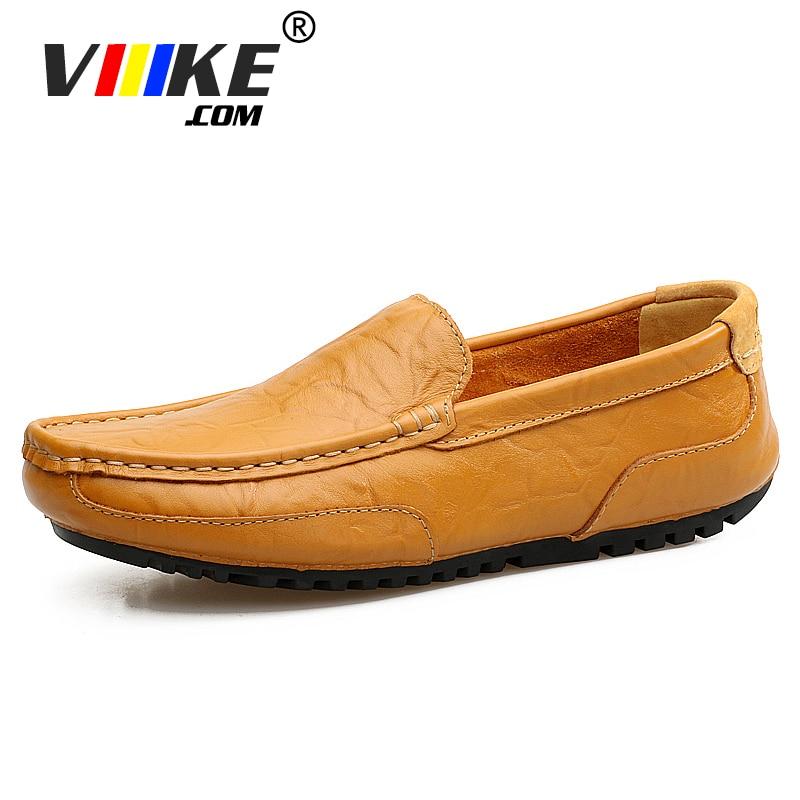Viiikecom Glissement sur la conduite en ville mocassins homme pliable ballet chaussures lumière appartements homme hombre Qualité Casual chaussures en cuir Noir