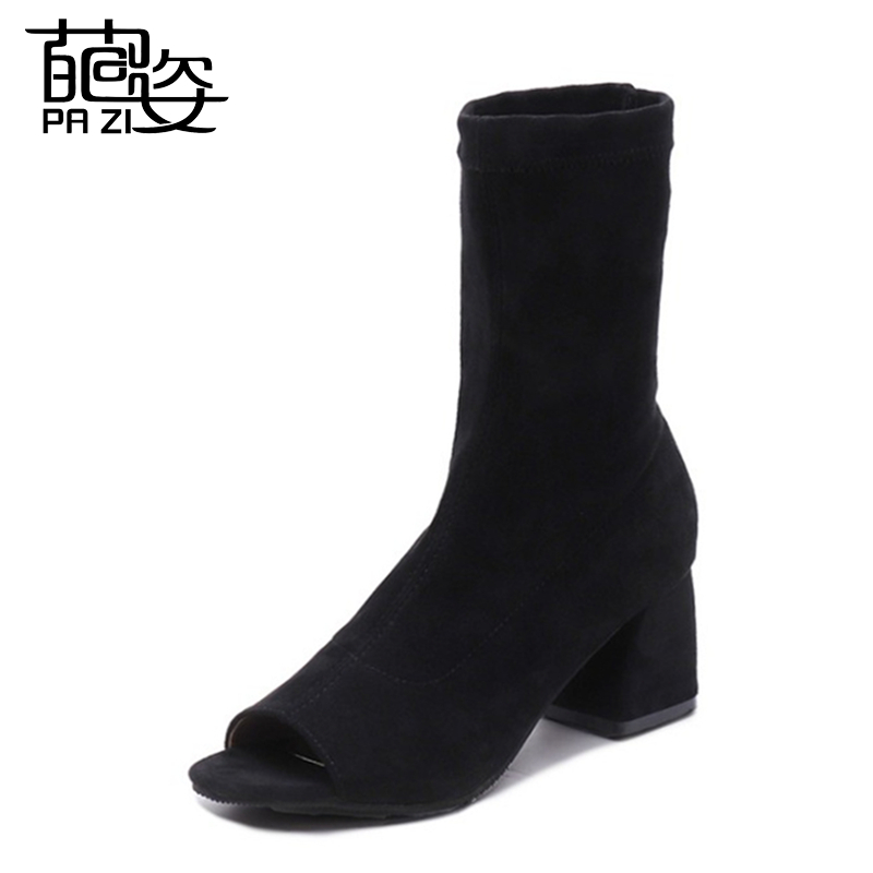 New Design Spring/Autumn Ladies Open Toe High Heels Fashion Ankle Boots Solid Black Peep Toe Casual Flat Heels  Boots For LadiesNew Design Spring/Autumn Ladies Open Toe High Heels Fashion Ankle Boots Solid Black Peep Toe Casual Flat Heels  Boots For Ladies