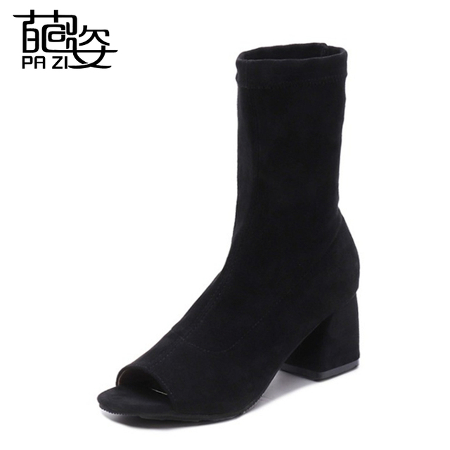 Nuevo diseño PRIMAVERA/otoño mujeres punta abierta tacones altos moda tobillo botas sólido negro Peep Toe Casual tacones planos botas para damas