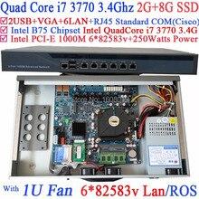 industrial computers 1U routing Server with 6 Gigabit LAN Intel QuadCore i7 3770 3.4Ghz Wayos PFSense ROS support 2G RAM 8G SSD