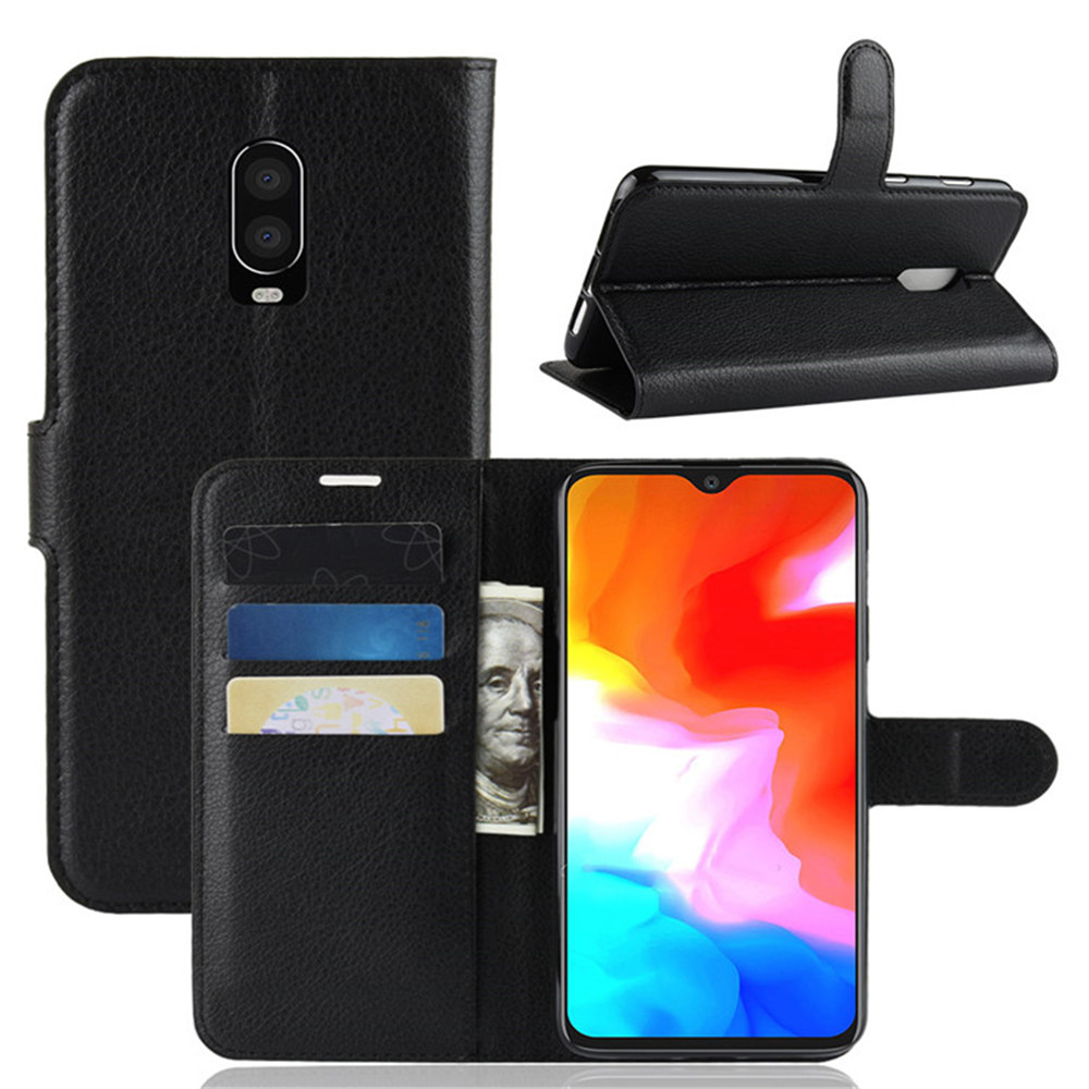 For <font><b>OnePlus</b></font> 6T Case 6.4 inch Luxury Flip PU Leather Card Slots Wallet Stand ShockProof Case For <font><b>OnePlus</b></font> 6t <font><b>A6013</b></font> 1+6T Phone Bags image