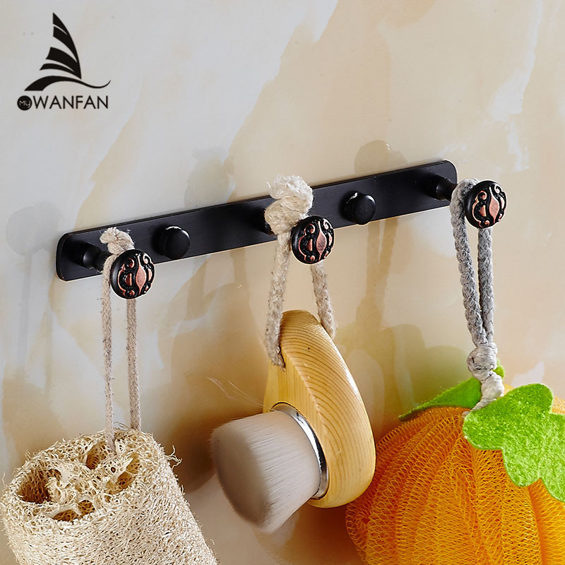 Robe Hooks 3 6 Row Solid Brass Coat Clothes Hangers Door Hook Shower Sponger Storage Towel