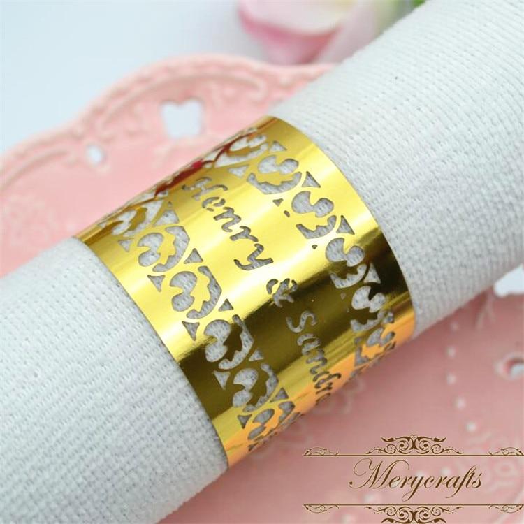 250 pièces métalliques or découpé au laser personnalisé filigrane anneaux de serviette de mariage-in Jetable partie Vaisselle from Maison & Animalerie    1