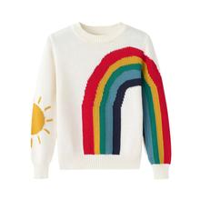 Children Rainbow Striped Knit Sweater Kids Knitting Sweater Boys Girls clothing Autumn Tee Tops 2-8T high quality kids striped tee