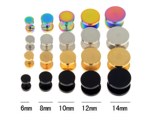 Gold Black Stainless Steel Cheater Faux Fake Ear Plugs Flesh Tunnel Gauges Tapers Stretcher Earring 2
