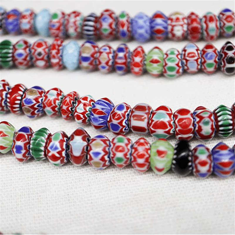TSB0003 Nepal Antiqued Trade Lampworks Beaded Necklace Colorful Rainbow Disk Beads