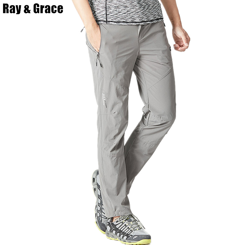 цена на RAY GRACE Outdoor Pants Summer Men Quick Dry Trekking Fishing Trousers For Men Breathable Hiking Camping Climbing Pants