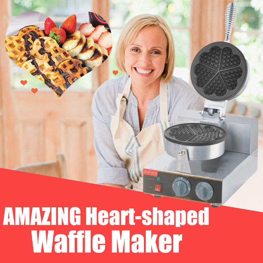 1pc high quality Heart-shaped round waffle machine waffle maker waffle machine Commercial Household Electric 110V/220V high quality stainless steel three slices electric fish shaped waffle maker machine