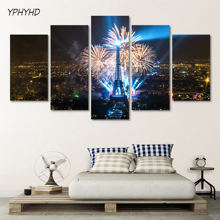 YPHYHD Decor Canvas Pictures Home Prints Poster Wall 5 Panel Night View Effect Tower Landscape For Living Room Modular Painting thumbnail