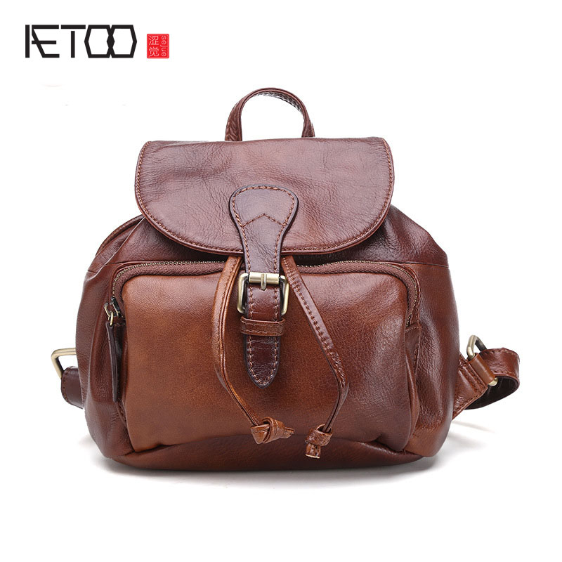 AETOO Korean version of the leather shoulder bag wholesale women fashion casual small backpack cute trend of the first layer of aetoo first layer of leather shoulder bag female bag korean version of the school wind simple wild casual elephant pattern durab