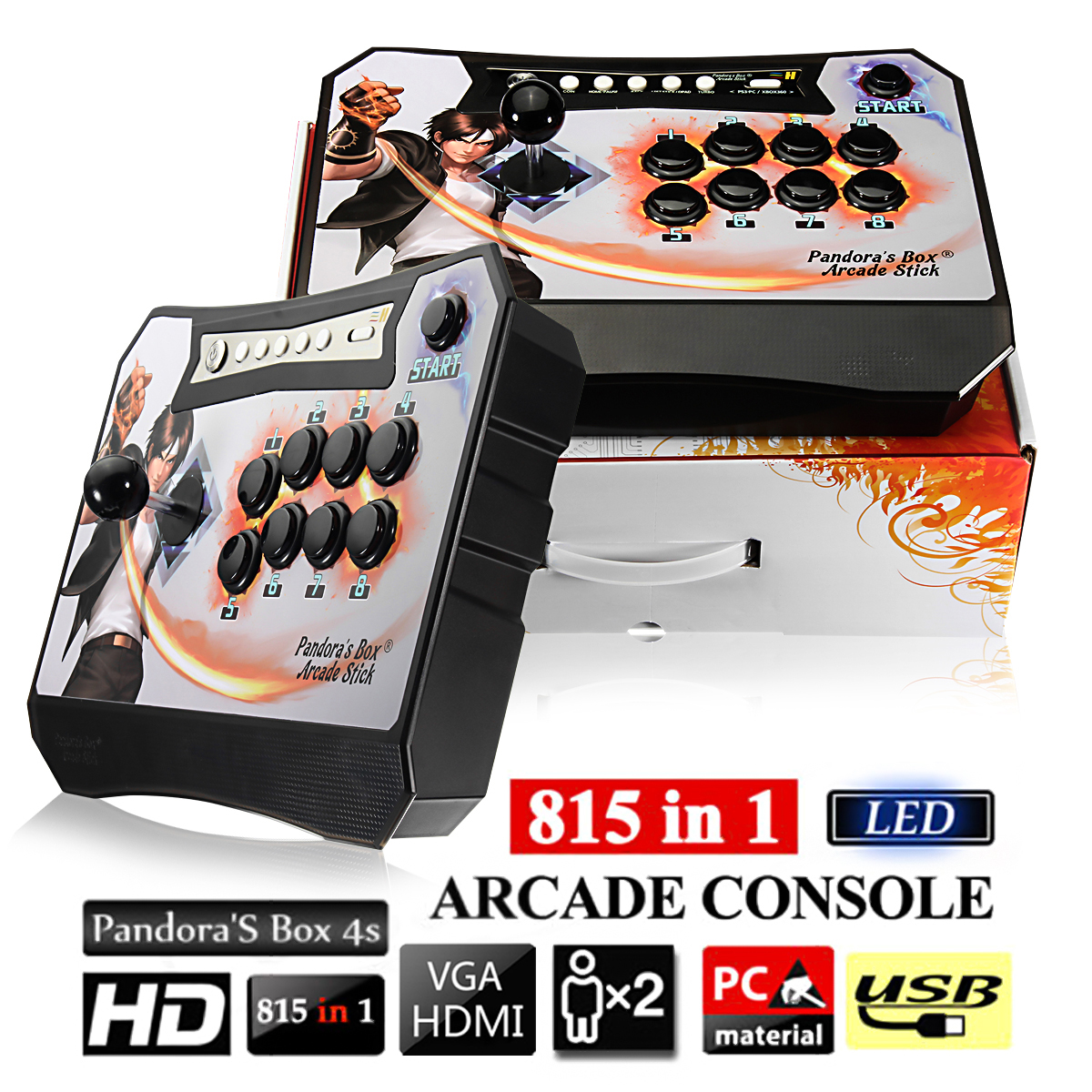 Box 4S 815 in 1 Single Player Arcade Game Console with 2.4Ghz Wireless Controller HDMI /VGA Cable цена
