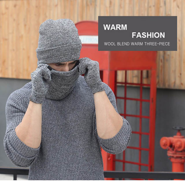 6b167c1338c Online Shop Plain Men Hat Scarf Gloves Sets Wool Knitted Beanies