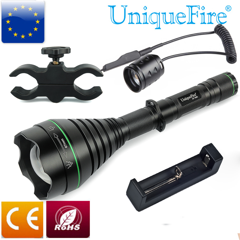 UniqueFire UF-1508 940nm T75 Newest Hunting Flashlight Illuminator Aspherical Lens+Scope Mount+Rat Tail+Charger SET For Hunting free shipping newest uniquefire mini rgw002 aspherical lens zoomable led flashlight white red green emitting color for camp