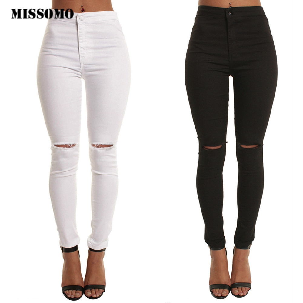 MISSOMO White Jeans Women Black Ripped Jeans Casual Slim Solid Hole Long Jeans Zippers Sexy Skinny Pants Daily Trousers