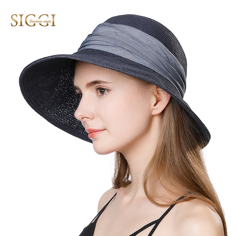 378c6d4b58a Ladies Summer Sun Hat Women Floppy Panama Straw Beach Hats Foldable Wide  Brim Fedora - UPF 50 ...