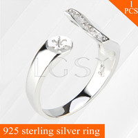 LGSY Special Crossband Design Adjustable Ring Jewelry 925 Sterling Silver Ring Accessories With Pearls Bar
