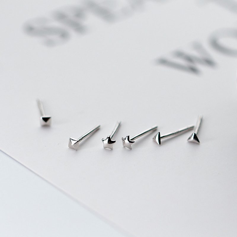 New Daily 925-Sterling-Silver Tiny Square Triangle Star Stud Earrings for Women Minimalist Simple Stud Earrings Fine Jewely