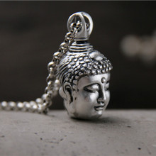 Two Side 999 Sterling Silver Devil Buddha Sakyamuni Pendant For Men Buddhist Pendants Necklaces India Thailand Buddhism Jewelry