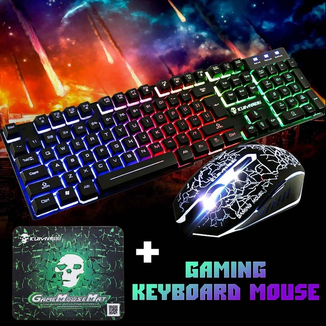 LED Rainbow Backlight USB Ergonomic Wired Gaming Keyboard + 2400DPI Mouse + Mouse Pad Set Kit for PC Laptop Computer Gamer 1