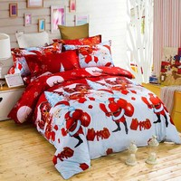 New 3D Christmas Sheets Santa Claus Elk Snowflakes Happy Gift Cartoon Cute Bedroom Soft Comfort Bed Four piece