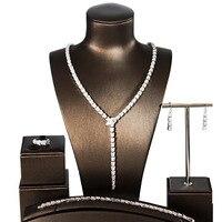 Свадебные украшения Медь сплава куб циркония комплект серьги Цепочки и ожерелья Браслет