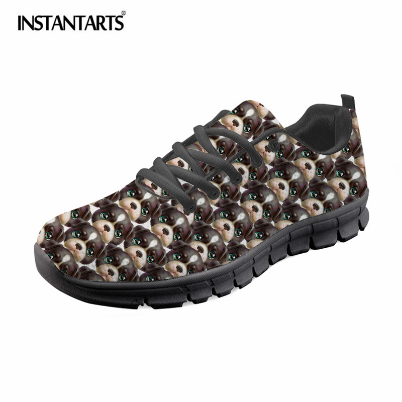 9b5baa7a0c191 INSTANTARTS Cute Sneaker Puzzle Shoes Female Shoes Shoes Summer Flat  Walking Fashion Lightweight Dog Up Lace ...