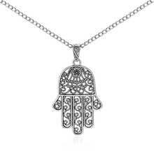 1pcs Antique Silver Large Largenlook Hamsa Hand Of Fatima Beads Flower Pendant Long Chain Sweater Necklace Collier Jewelry
