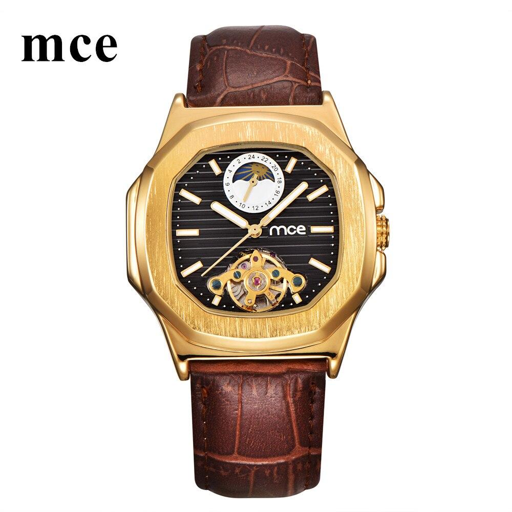 MCE Moon Phase Square Mechanical Watch Men 2018 Luxury Brand Automatic Watches Mens Tourbillon Genuine Leather Women Wristwatch patek philippe sky moon tourbillon в самаре