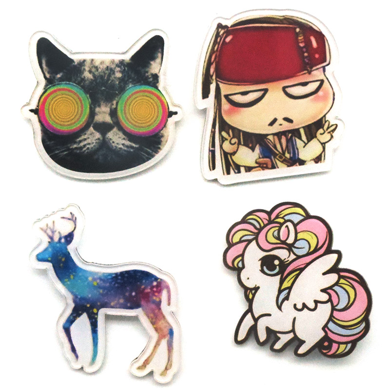 fashion brooch pin acrylic cartoon icons with a pins badges Pirate Captain sunglass Christmas elk unicorn cat Broche BR0002
