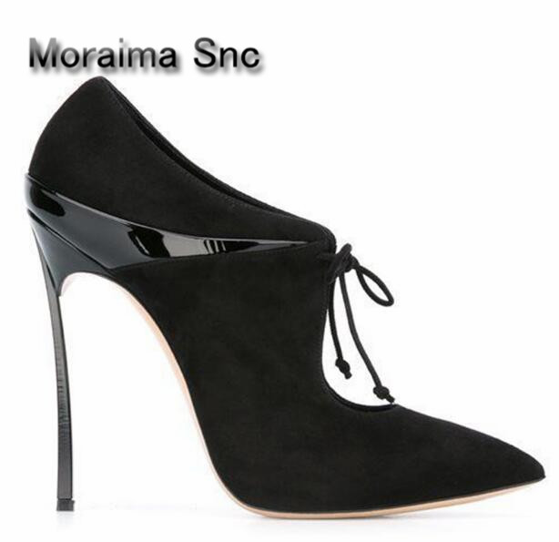 Moraima Snc brand shallow sexy pumps lace up leather suede high heels pumps women black beige pointed toe metal heels stiletto moraima snc luxurious women pumps shallow high heels pointed toe flower pu leather ankle strap buckle party women pumps
