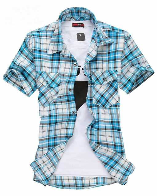 Promotion 2016 new Fashion Double pocket plaid short-sleeved shirts men casual slim fit shirts for men checked shirts men,M-XXXL