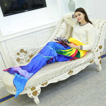 YOYIHOMEเมอร์เมดผ้าห่มสักหลาดขนแกะสายรุ้งเงือกหางผ้าห่มผู้ใหญ่โซฟาผ้าห่มนางเงือกห่อนุ่มลายโยนผ้าห่ม