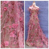 Лидер продаж модный стиль темно розовый/Off White ручной работы 3D цветы жемчуг перо горный хрусталь торжественное платье кружевной ткани 51 ''шир