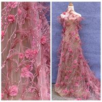 Hot fashion style Dark pink/off white Handmade 3D flowers pearls feather rhinestone wedding dress lace fabric 51'' width 1 yard