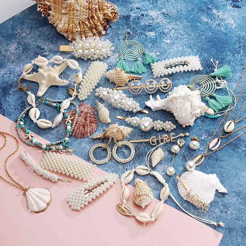 Ocean Style Simulated Pearl Shell Jewelry Sets for Women Retro NE+EA Ring Bohemian Hair Clip With Pearl Seashell Drop Earrings