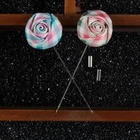 Mdiger Men's Suit Handmade Lapel Pins Flower Brooch Plaid Fabric for Men's Suit Wedding Party Long Pin Rose Brooch 16PCS/LOT