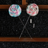 Mdiger Men's Suit Handmade Lapel Pins Flower Brooch Plaid Fabric for Men's Suit Wedding Party Long Pin Rose Brooch 16PCS/LOT