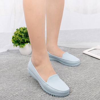Women Rain Shoes 2019 Summer PVC Waterproof Flat Shoe For Woman Candy Color Rain Shoe Non-Slip Casual Female Shoes Spring Flats