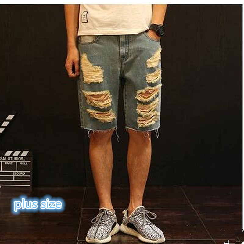 New summer 2017 high-quality goods cotton Fashion hole in decoration Men Leisure cowboy shorts / Male casual beach jeans shorts