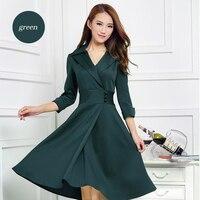 2018 larger size ladies long temperament collar three quarter sleeve big pendulum dress Q20