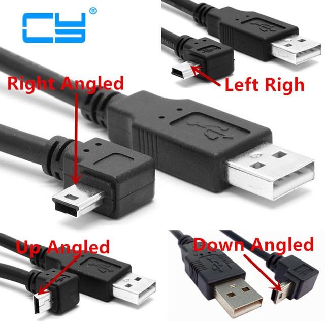 USB 2,0 штекер Mini USB B Тип 5pin 90 градусов вверх и вниз и влево и вправо Угловой Мужской кабель для передачи данных 0,25 м/0,5 м/1,8 м/5 м