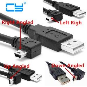 Image 1 - USB 2.0 mâle vers Mini USB B, 5 broches, câble coudé vers le haut et vers le bas et droite, pour données, 0.25m/0.5m/1.8m/5m