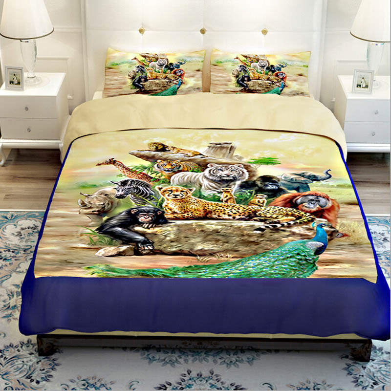 tiger lion monkey giraffe zebra peacock elephant zoo bedding sets twin queen king size 3d animal - Queen Bed Sheets
