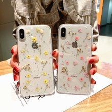 Real Flowers Dried Flowers Soft TPU Cover For iPhone X 7 8 Plus 6 6S Plus Transparent Phone Case For iphone XS XR XS Max Coque imd gel tpu skin for iphone 6s plus 6 plus pretty flowers and butterflies